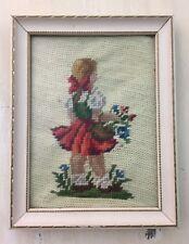 FRAMED EMBROIDERY ART - Vtg Girl w/ Flowers, Handmade, Yarn Art, MUST SEE!