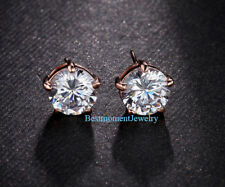 18K Rose gold 4 ct Round cut Diamond 5 prong solitaire stud earring FREE PP