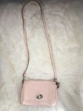 COACH F34604 Pale Peach Pink Crossgrain Mini Crossbody Handbag Dahlia Purse VGUC