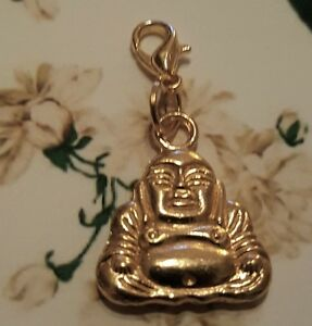 Gold Buddha Compassion Love Clip on Charm / Pendant for Necklace Bracelet Locket