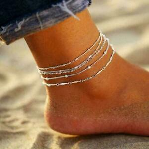 5pcs/set Fashion Women Ankle Bracelet Foot Chain Women Gift Anklet Jewelry E5S3