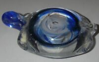"Kerry Art Glass PAPERWEIGHT Turtle Blue/Clear Figurine 3"" Hand Made in Ireland"