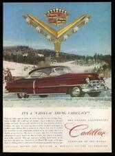 1952 Cadillac coupe burgundy red car photo Van Cleef jewels vintage print ad
