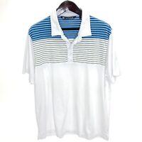 TRAVIS MATHEW 2XL White Polo Shirt Performance Pima Cotton Poly Blend Striped