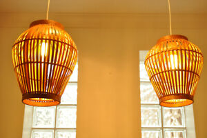 Handmade Bamboo Lampshade, Round Pendant Ceiling or Table Shade, Brown L007