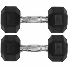 Mirafit 2x 7.5kg Rubber Dumbbell Hex Weights Gym Fitness/Workout/Weight Lifting