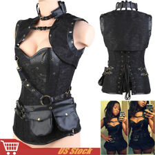 SEXY Women's Bustier Waist Training Black Corset Steampunk Dress Plus Size S-6XL