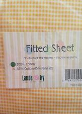 New Lambs & Ivy Dream Teddy Orange Gingham Fitted Crib Sheet