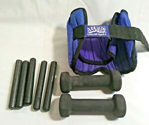 Pair of 2 lb Hand Weights and 5 8 ounce bar Weights