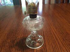 Ruffled Bullseye Clear Glass Miniature Oil Lamp & Chimney