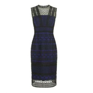 £435 Karen Millen Graphic Lace Embroidered Dress UK10 KM Milen Evening Tux
