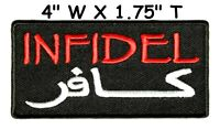 INFIDEL ARABIC TACTICAL ARMY MORALE CRUSADER COMBAT HOOK LOOP PATCH