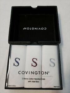 Covington 100% Cotton Set of 3 Handkerchiefs Valet Box Monogrammed S