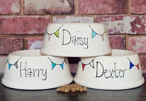 Extra small slanted dog bowl cat bowl hand painted personalised ceramic bunting