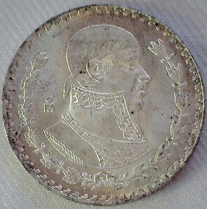1963 Mexico Estados Unidos Mexicanos Silver Peso Coin Brilliant Uncirculated
