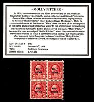 1928 - MOLLY PITCHER - #646 Block of Four Vintage Mint U.S. Postage Stamps