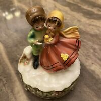 Vintage Josef Originals Music Box Girl and Boy With A Duck