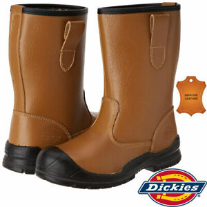 Mens Dickies Dixon Steel Toe Cap Leather Rigger Safety Work Slip On Boots Shoes
