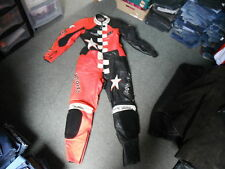 Hein Gericke Pro Sports Size S2 Mens Black Orange & White Leather Motorbike Suit