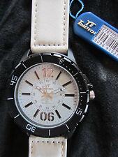 TimeTech * Rund * Herren Quarz Uhr * 3 ATM * Lederband Weiß