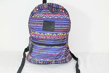 "VOLCOM ""ONE WAY TICKET"" NAVY MULTI-COLOR TRAVEL/BOOK BACKPACK W/ LEATHER ACCENTS"