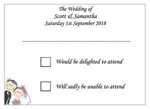 10 Personalised Wedding RSVP Cards in White or Ivory - Return Envelopes Optional