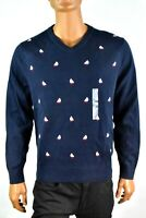 Nautica Mens Sweater New S L XL Blue Ship Design V-neck Long Sleeves Casual