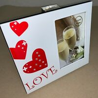 """Love Heart Frame 4x6"""" Photo Frame Frameless White Metal w/ Crystal Gems C230 MZ"""
