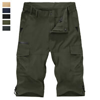 Men's 3/4 Casual Shorts Quick Drying Outdoor Hiking Tactical Cargo Work Shorts