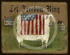 Primitive Sheep American Flag Americana Salt Box House Distressed Print 8x10