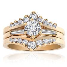 0.75 Carat Diamond Engagement Bridal Set 14K Yellow Gold