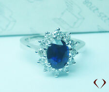 2.40CTW Sapphire and Diamond Ring  18K White Gold