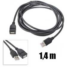 Cable alargador USB tipo A 1,4 m macho hembra Universal type male female negro