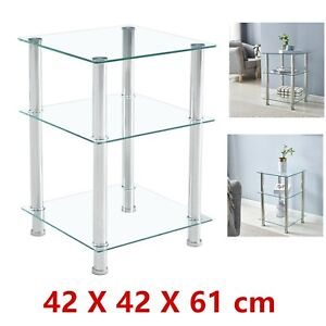 Tempered Glass Square Side Coffee Table Shelf Chrome Living Room Decor Clear