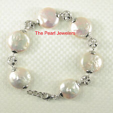Genuine Peach Coin Pearl Bracelet w/ 925 Sterling Silver Plumeria Links - Tpj