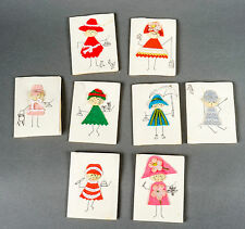 Vintage Mid-Century Bridge Score Cards Set Hand Made Felt Ladies Fashion Art