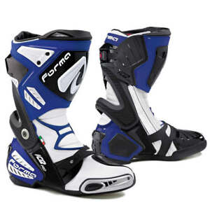 motorcycle boots | Forma Ice Pro racing road track race gear blue tech smx rex