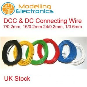 10m DCC & DC Layout Wire 1/0.6, 7/0.2, 16/0.2, 24/0.2 all Colours