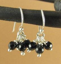 Black agate cluster earrings. Small. 4 stones. Sterling silver 925.  Handmade.