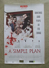 A SIMPLE PLAN original Dutch poster SAM RAIMI Bill Paxton BILLY BOB THORTON