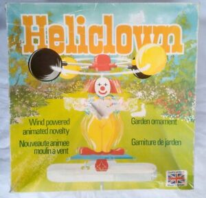 Boxed Vintage Mecnov Heliclown Garden Ornament - Windmill / Whirligig Clown