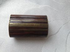 Antique Olive Wood & Brass Inlay Snuff Box