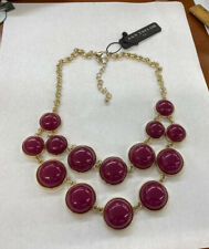 Ann Taylor Purple Maroon Thermoset Quality Weight Gold Tone Necklace
