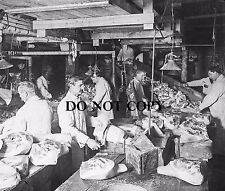 """12 x 12 """" Antique Photo Art Print Ham Trimming Factory in Chicago early 1900's"""