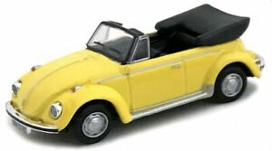 Cararama, VW Käfer Cabrio gelb, Maßstab 1:72, OVP und Neu in Vitrine.