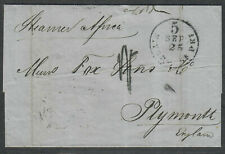 Transatlantic Ship Stampless Cover 1855 NY To Plymouth England, Africa Steamer