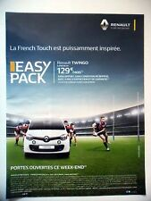 PUBLICITE-ADVERTISING :  RENAULT Twingo Easy Pack  2016 Voitures,Rugby