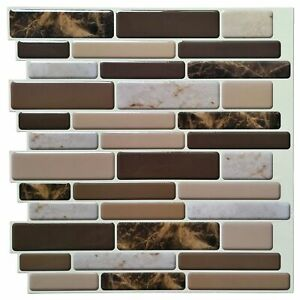 A17040 - Premium Anti Mold Peel and Stick Wall Tile Marble Style, Set of 10