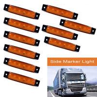 10Pcs Amarillo 12v 6 Led Front Side Marker indicadores Lámpara Camión Remolque