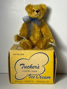 TEDDY BEAR VINTAGE GOLDEN MOHAIR W/1947 ICE CREAM BOX BY JANIE HEFFEL